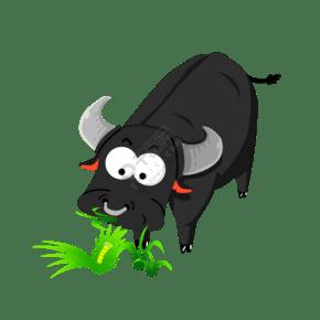 免卡卡通黑色母牛