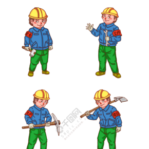 工人人物卡通男人系列