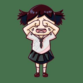 大哭的小女孩插画