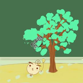 小清新绿树下手绘插画