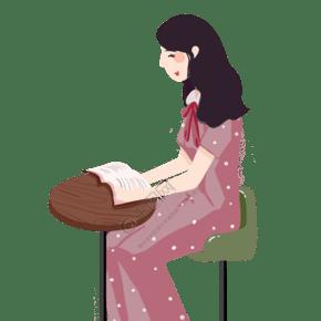 世界讀書日紅色卡通插畫人物psd