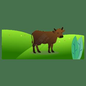 免扣卡通黑色母牛