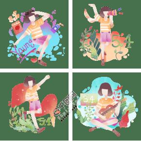青年節人物合集插畫