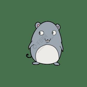 卡通插畫灰色小老鼠PNG