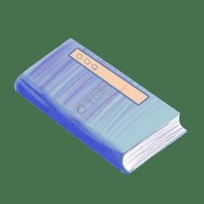 卡通水彩蓝色书本