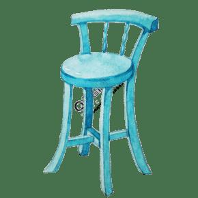 蓝色高椅子家具插画