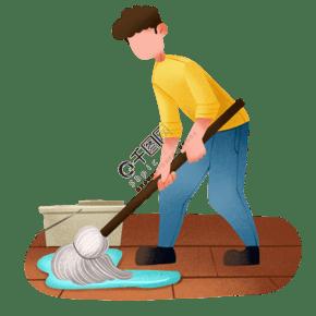 卡通男孩拖地打掃衛生