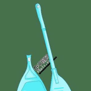 藍色的掃把與鏟子