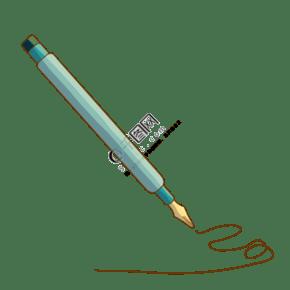 綠色寫字鋼筆插圖