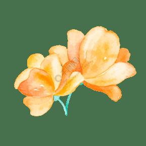水彩风手绘黄色花朵矢量图