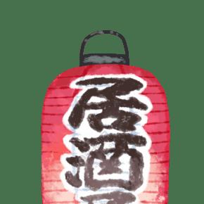 紅色掛式燈籠插圖