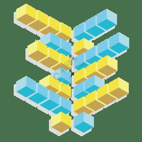 PPT立体柱状图表插画