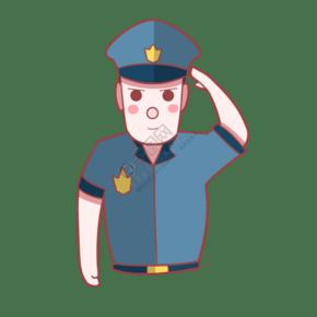 帥氣的敬禮警察插畫