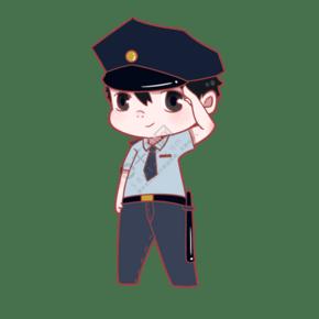 敬禮的帥氣警察出插畫