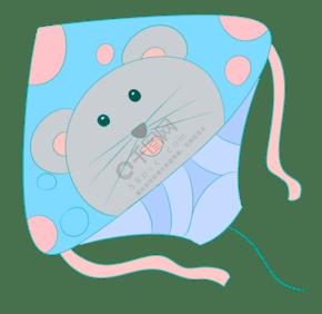 小老鼠風箏卡通插畫