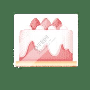 粉色圓形草莓鮮奶蛋糕