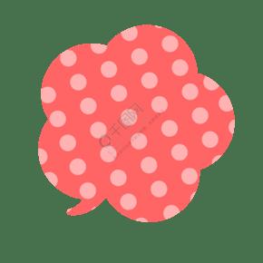 紅色點點花形卡通氣泡素材下載