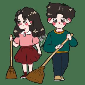 五一勞動節同學們努力勞動掃地搞衛生