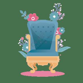 卡通家居椅子和花朵免抠图