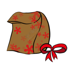 红色蝴蝶结装饰礼品袋PNG素材