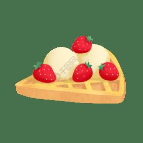 清新可愛冰淇淋華夫餅美食插畫