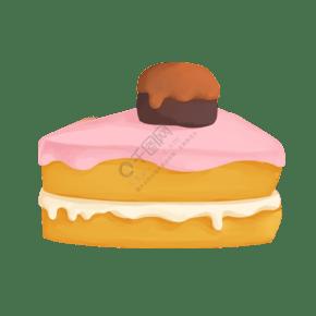 清新甜美巧克力蛋糕美食插畫