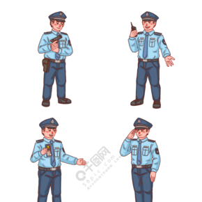 警察人物各種動作系列