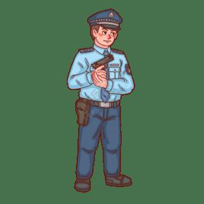 警察人物警察拿手槍