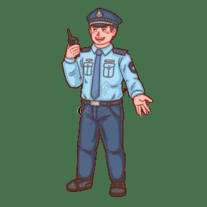 警察人物拿對講機