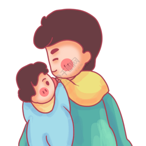 趴在爸爸后背上的宝宝
