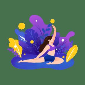 扁平風運動場景做瑜伽的女孩