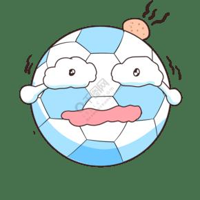 卡通冒泡的蓝色足球