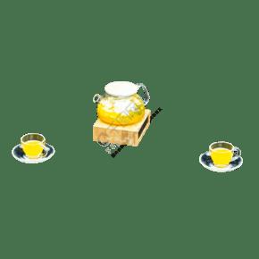 实拍夏日黄色茶水