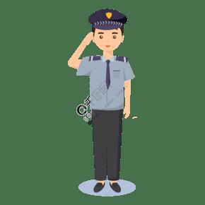 人民警察穿制服敬禮