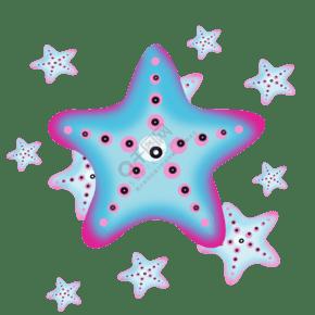 藍粉色星星病菌插畫