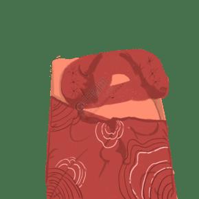 红色的被子免抠图