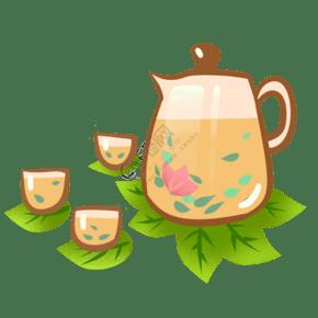 清明节手绘茶具茶杯饮茶png免扣