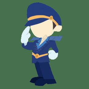 敬禮的警察裝飾插畫
