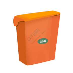 橙色的卡通垃圾桶