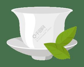 白色的精致茶杯插画