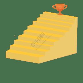金色楼梯和奖杯插画