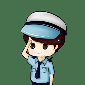 敬禮警察卡通插畫