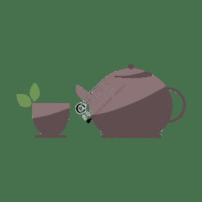 咖啡色的茶壶插画