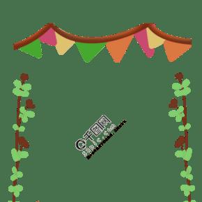 枝条花边边框插画