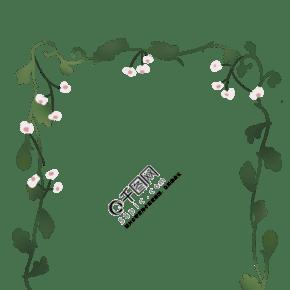 绿色花边边框插画
