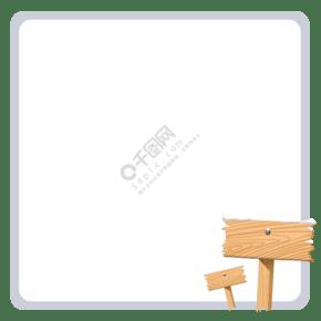 正方形邊框的插畫