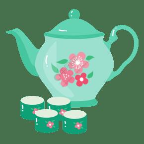 绿色的茶壶茶具插画