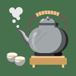 银灰色茶具茶壶插画