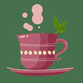 粉色的茶具茶杯插画