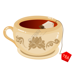 花纹的茶壶茶具插画